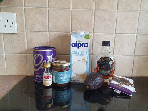 ingredients for extra chocolate-y vegan avocado mousse
