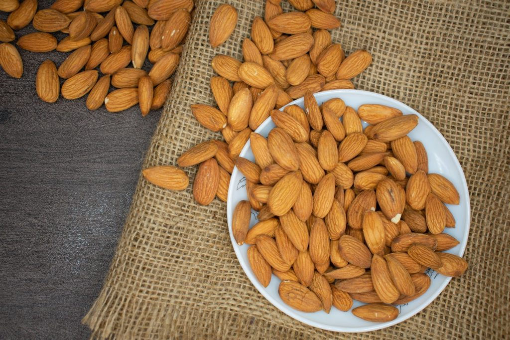 almonds  - plant-based sources of iron