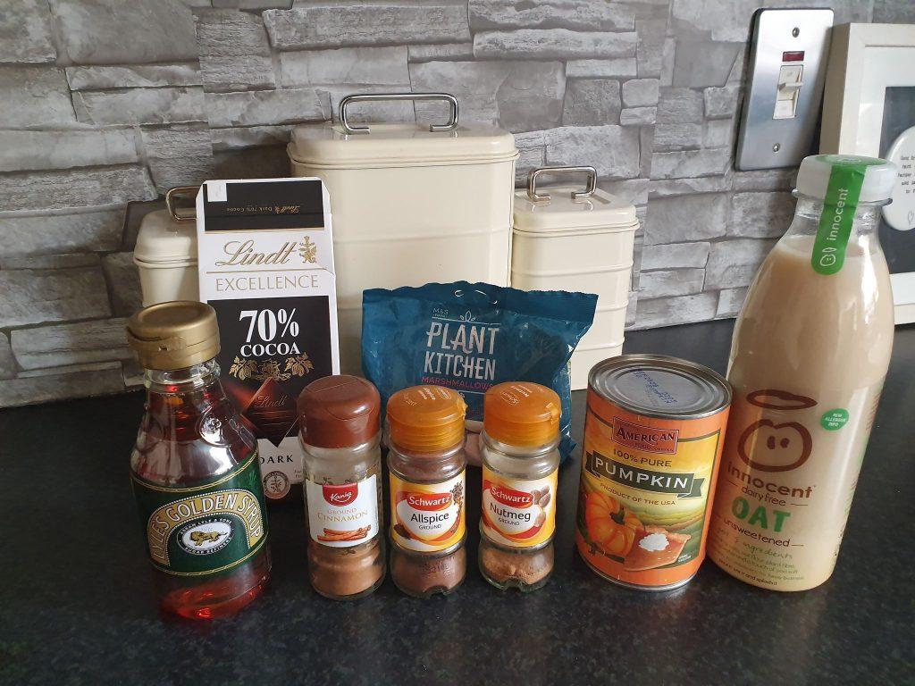 ingredients for vegan pumpkin spice hot chocolate