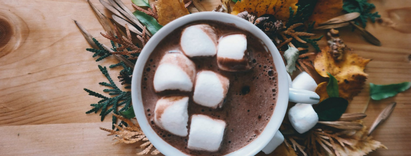 vegan pumpkin spice hot chocolate with marshmallows