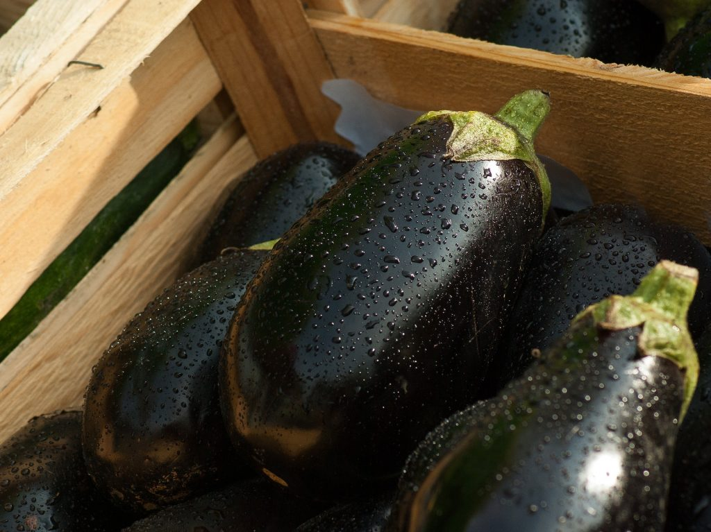 eggplants in a basked - nightshade vegetables and inflammation