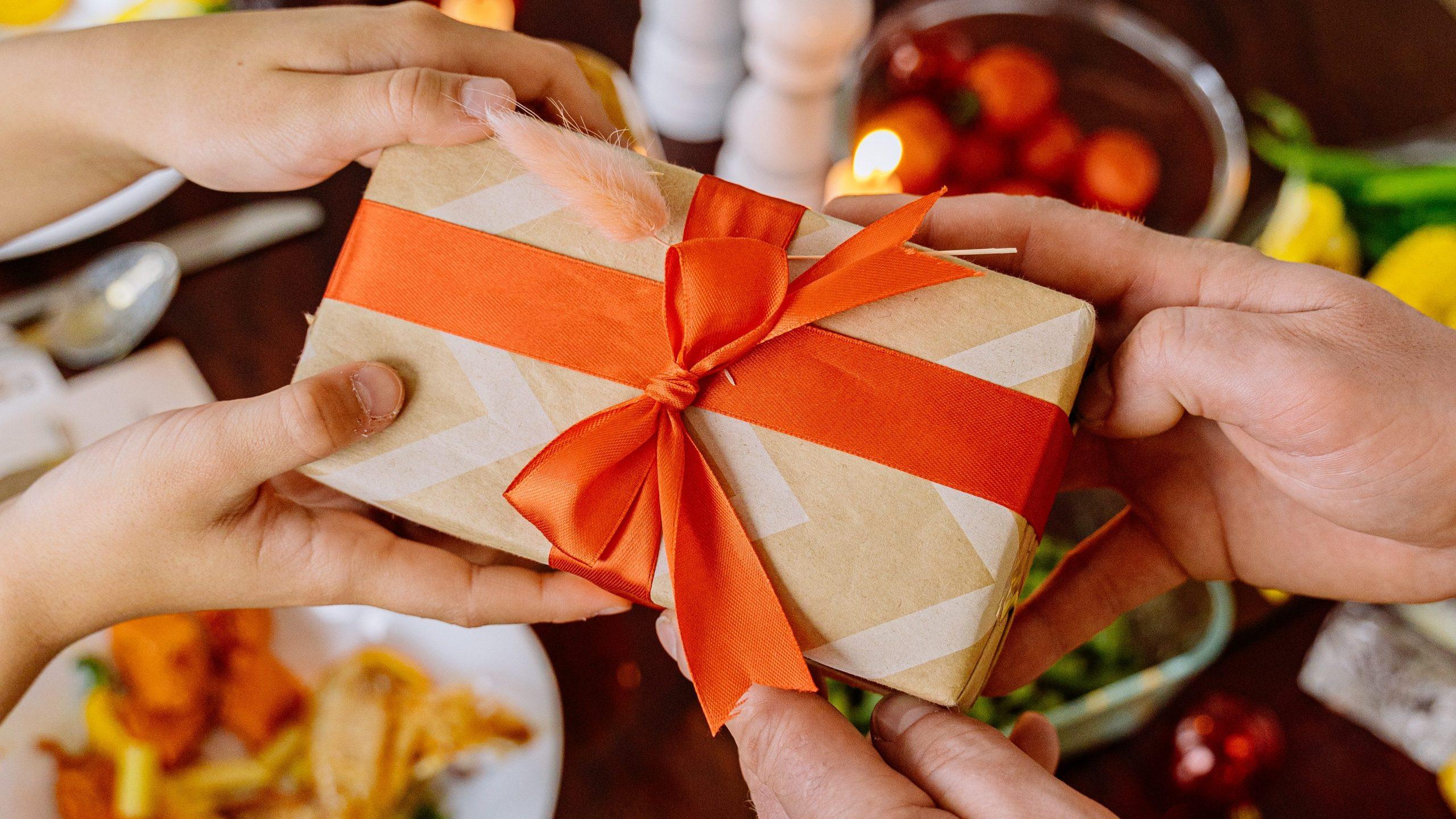 christmas present over dinner