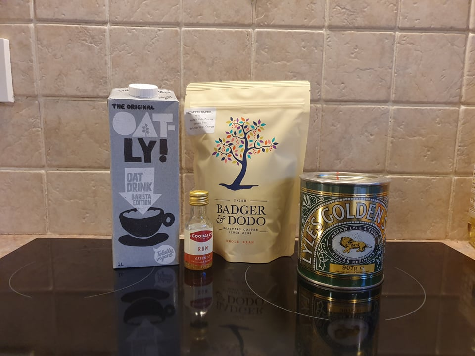 ingredients for vegan-friendly alchol free rum latte