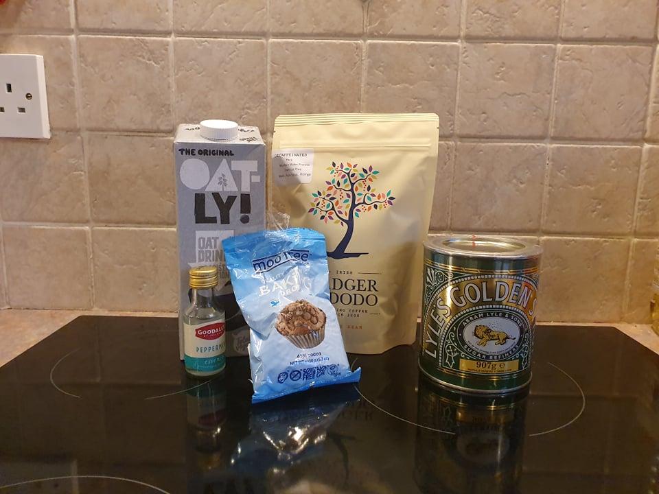 ingredients for vegan peppermint mocha